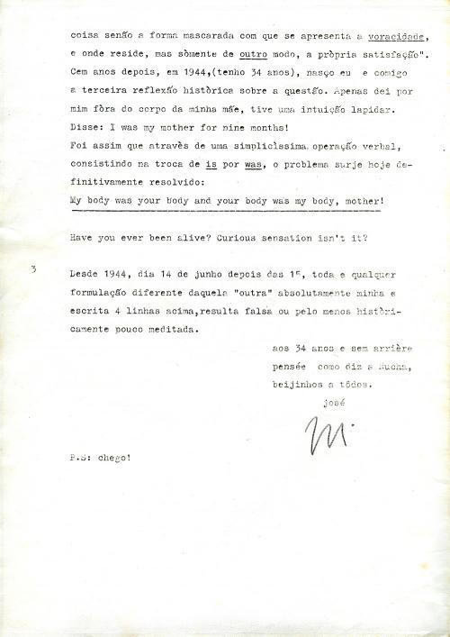 Carta de José Barrias enviada a Julião Sarmento, Novembro 1978. Folha 5/6